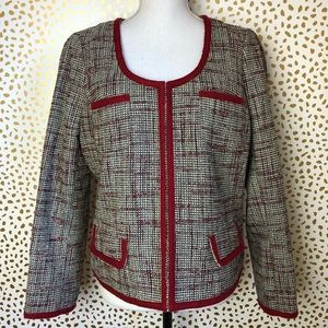 Banana republic red tweed large blazer size 12